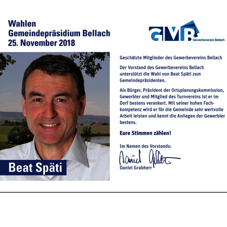 Auch der Gewerbeverein empfiehlt die Wahl von Beat Späti